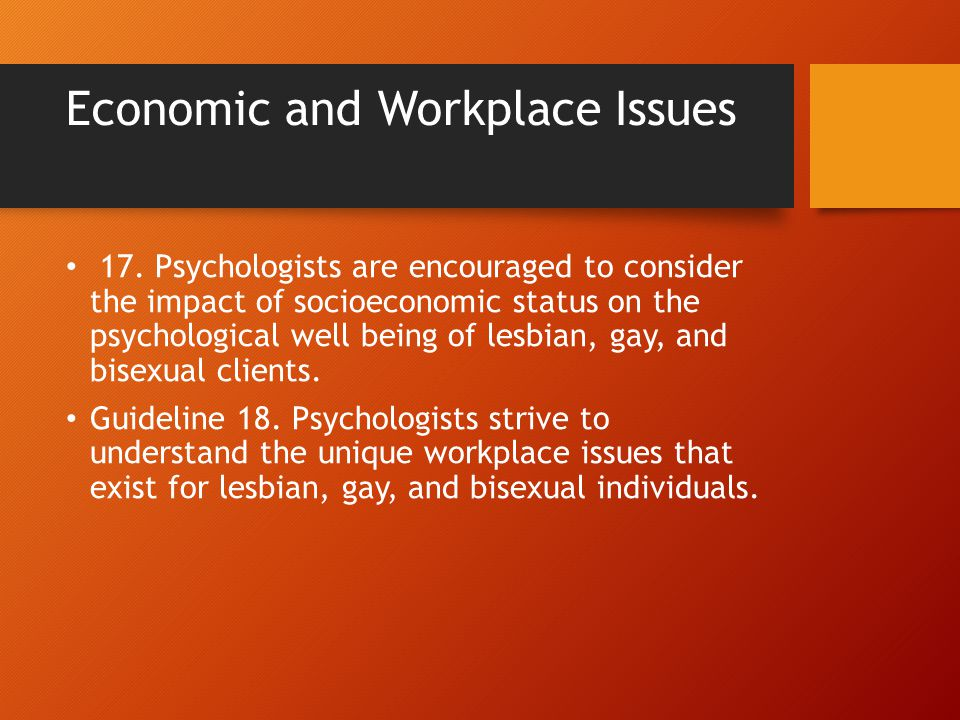 Economic and Workplace Issues