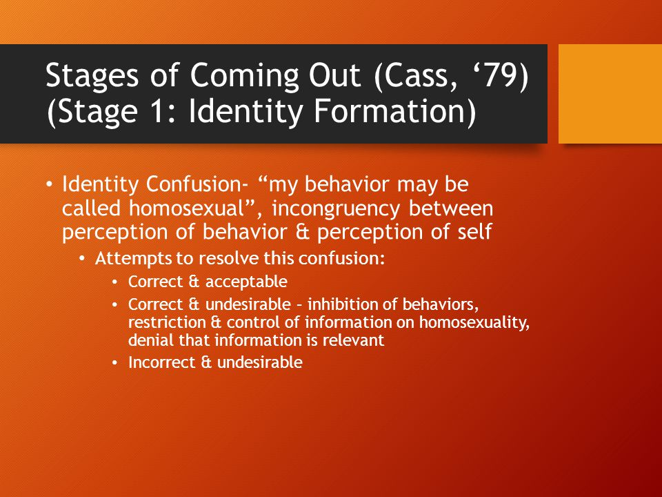 Stages of Coming Out (Cass, '79) (Stage 1: Identity Formation)