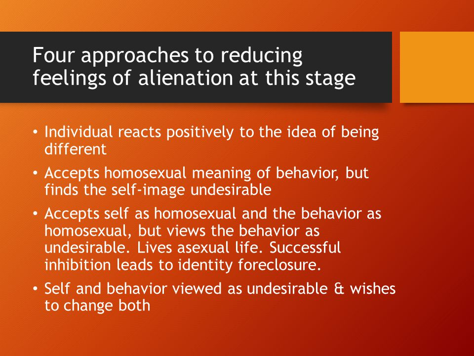 Four approaches to reducing feelings of alienation at this stage