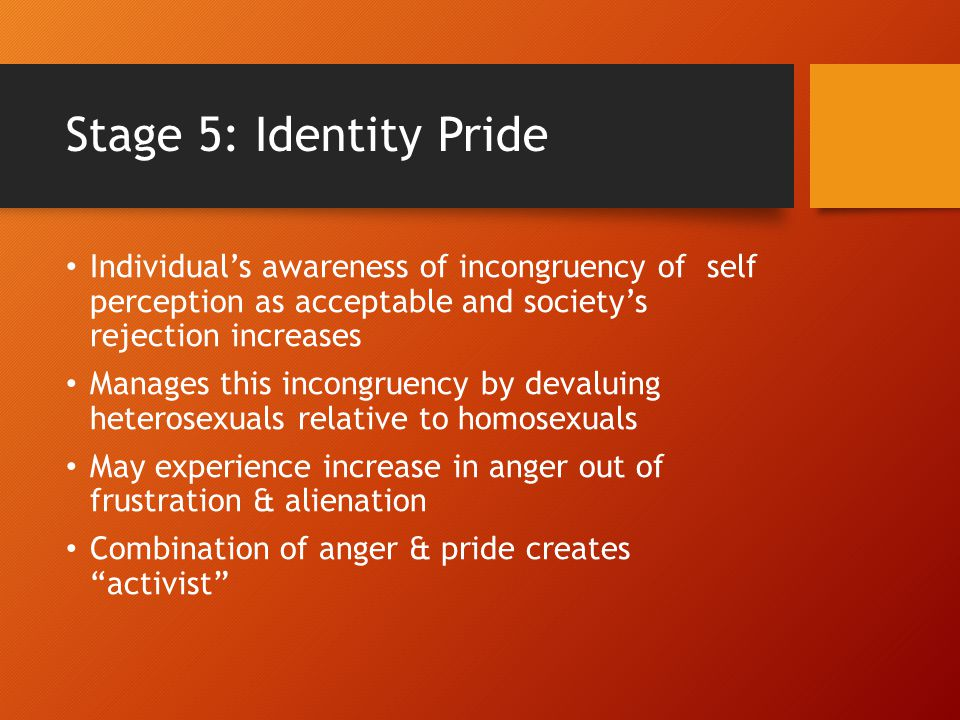 Stage 5: Identity Pride Individual's awareness of incongruency of self perception as acceptable and society's rejection increases.