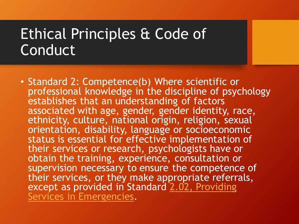 Ethical Principles & Code of Conduct