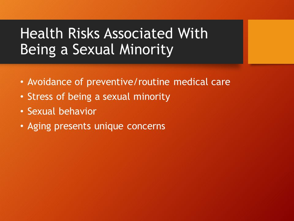 Health Risks Associated With Being a Sexual Minority
