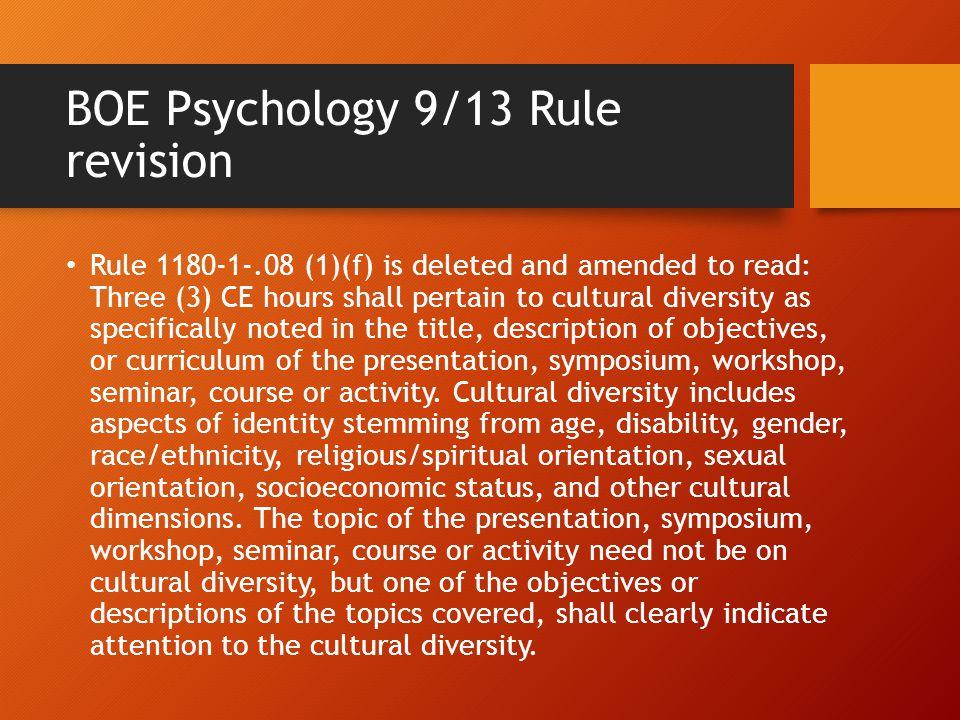 BOE Psychology 9/13 Rule revision