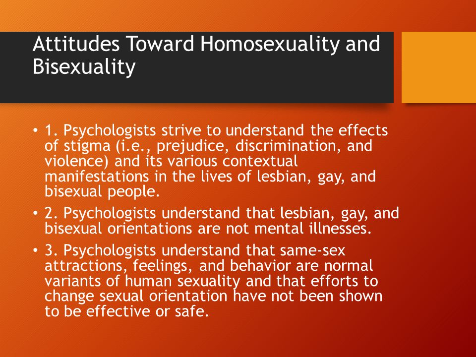 Attitudes Toward Homosexuality and Bisexuality