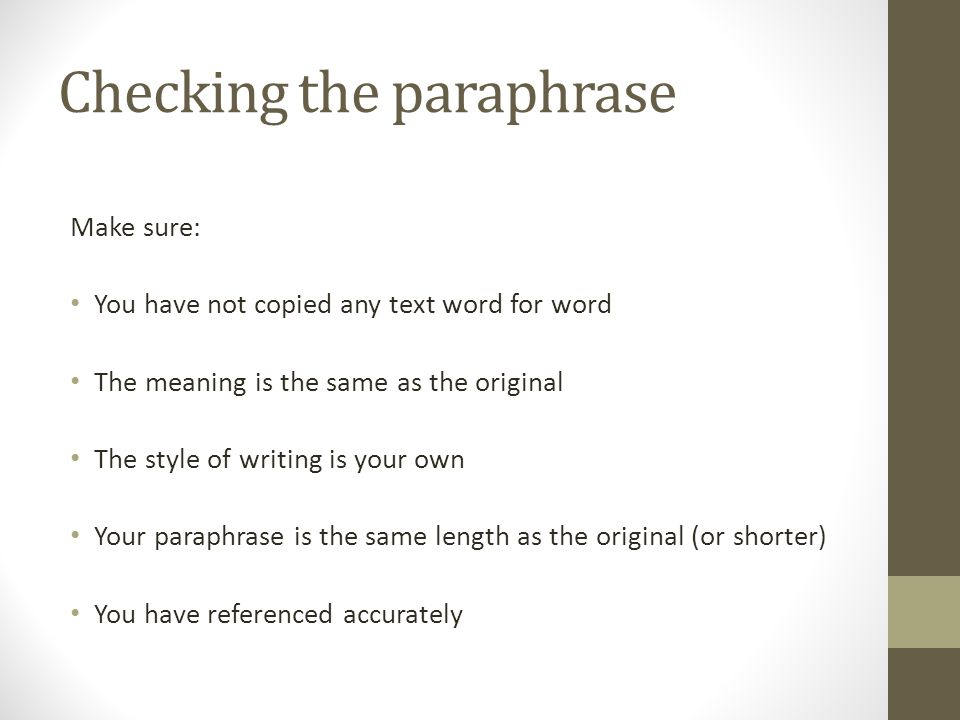 Checking the paraphrase
