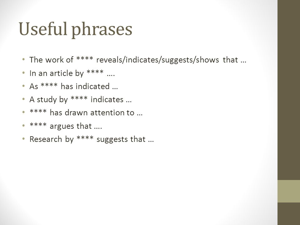 Useful phrases The work of **** reveals/indicates/suggests/shows that … In an article by **** …. As **** has indicated …