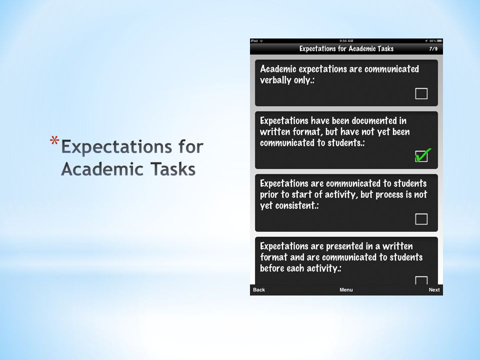 Expectations for Academic Tasks
