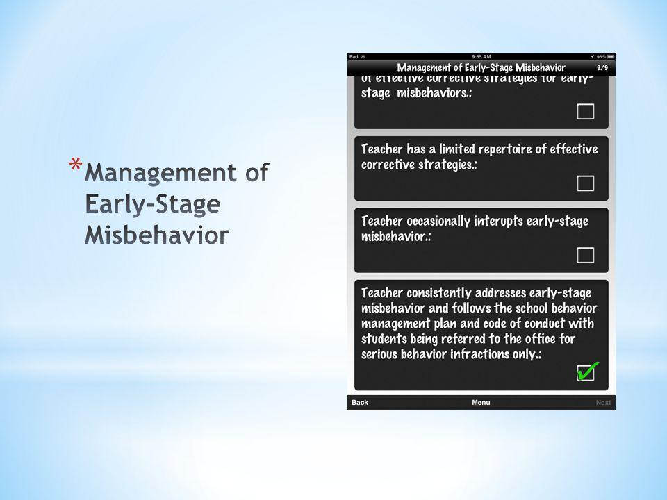 Management of Early-Stage Misbehavior