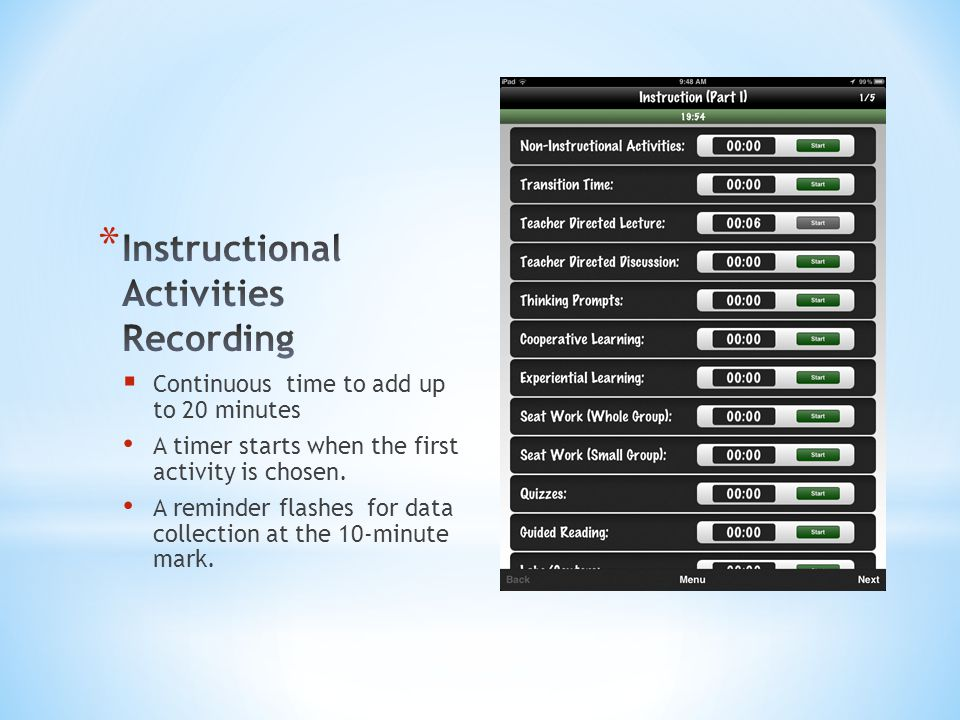 Instructional Activities Recording
