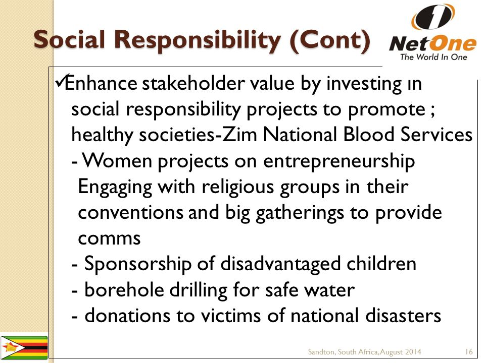 Social Responsibility (Cont)