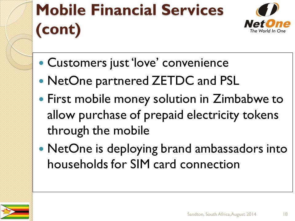 Mobile Financial Services (cont)