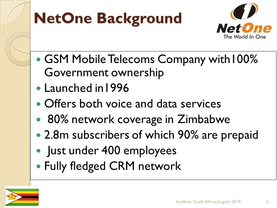 NetOne Background GSM Mobile Telecoms Company with100% Government ownership. Launched in1996. Offers both voice and data services.