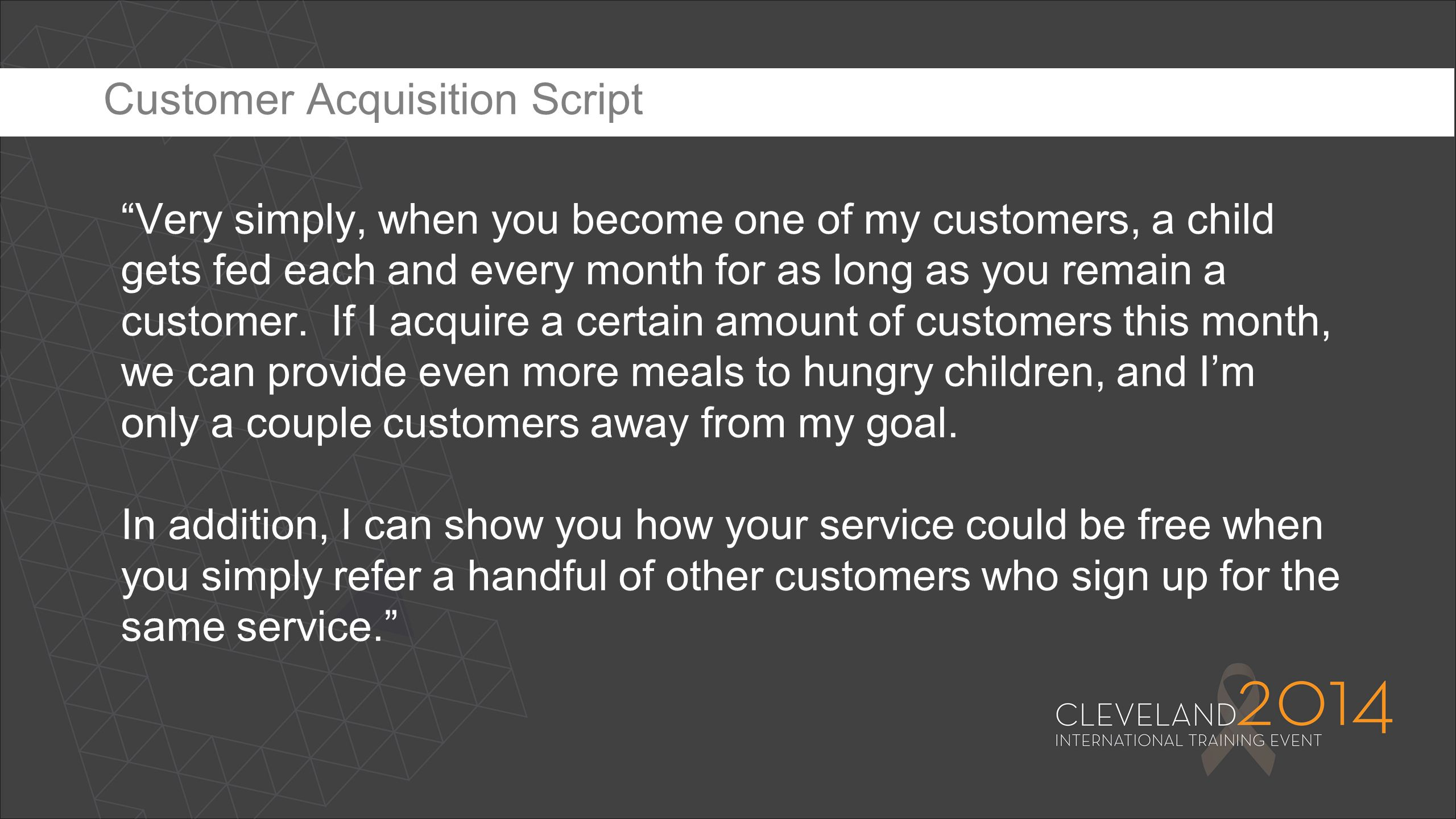 Customer Acquisition Script