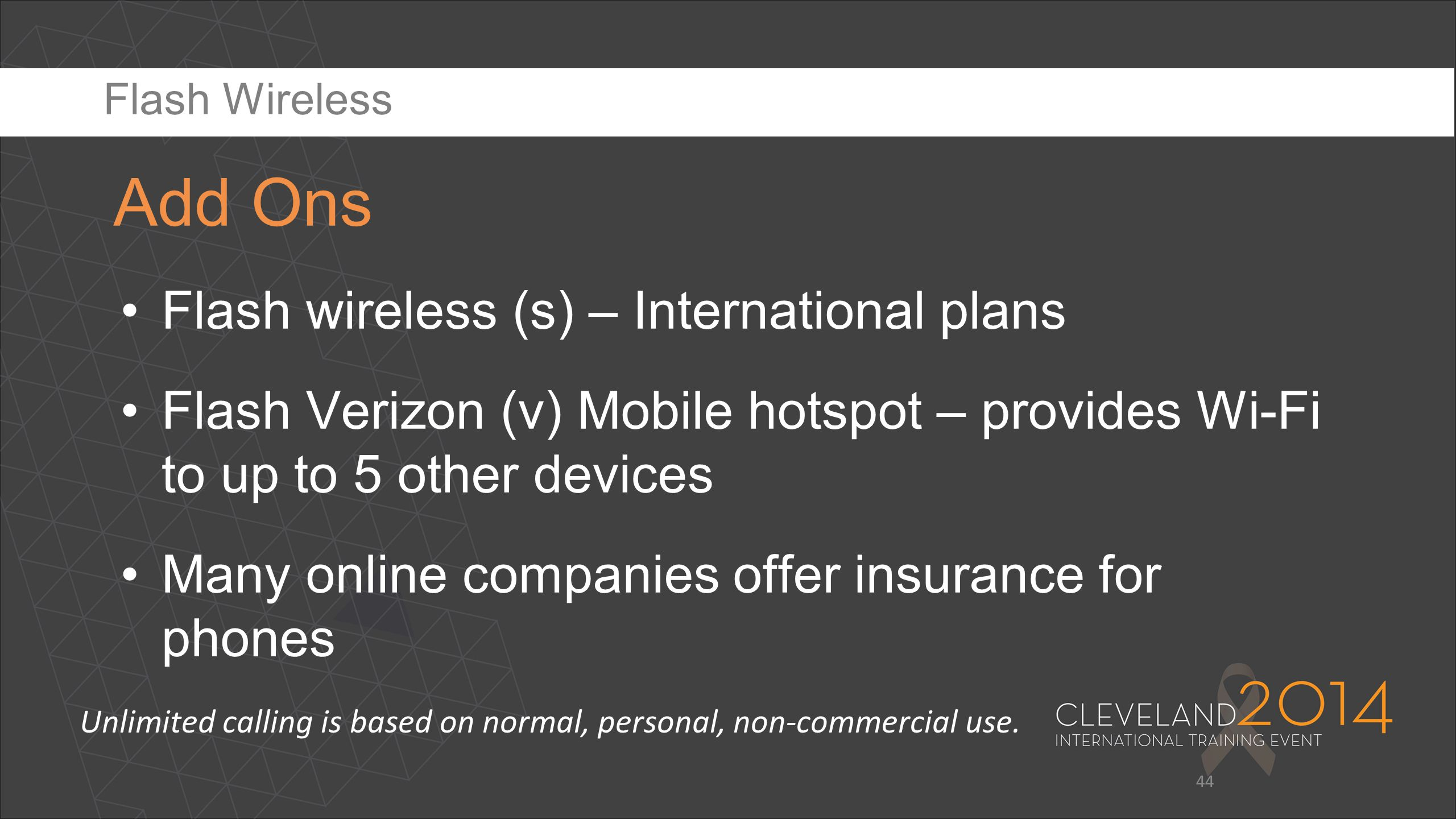 Add Ons Flash wireless (s) – International plans