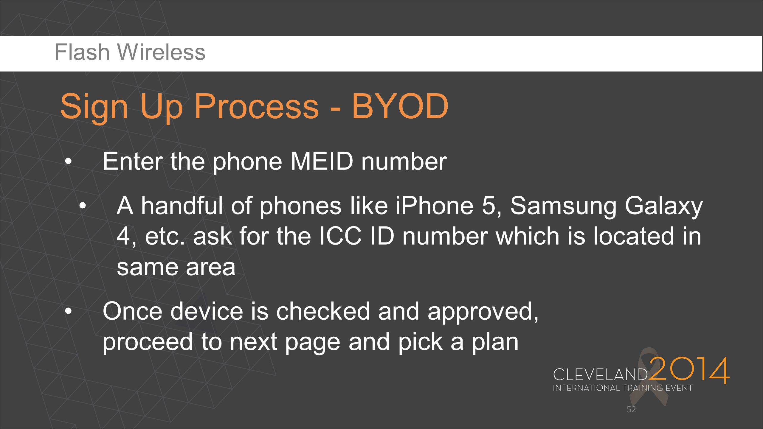 Sign Up Process - BYOD Enter the phone MEID number