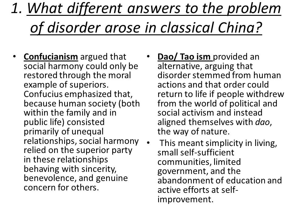 1. What different answers to the problem of disorder arose in classical China