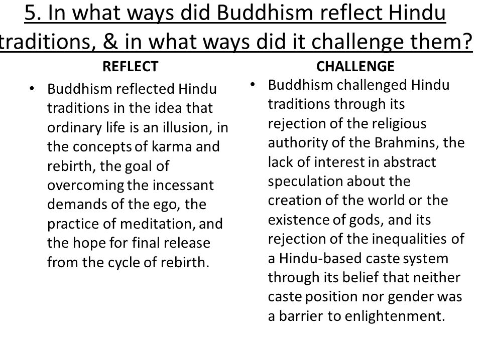 5. In what ways did Buddhism reflect Hindu traditions, & in what ways did it challenge them