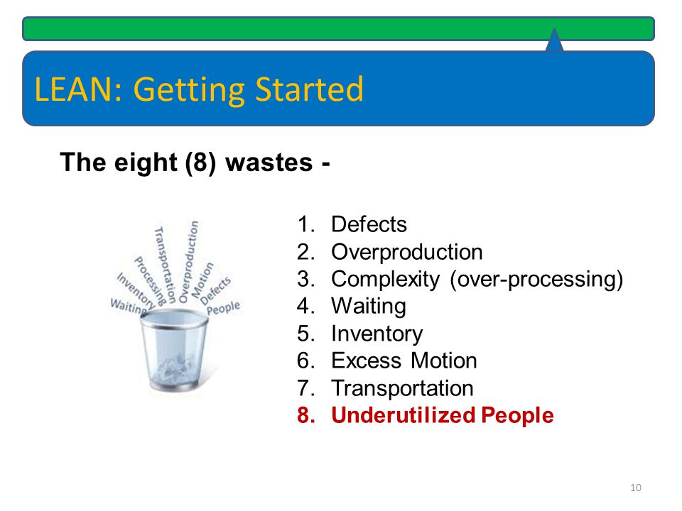 LEAN: Getting Started The eight (8) wastes - Defects Overproduction