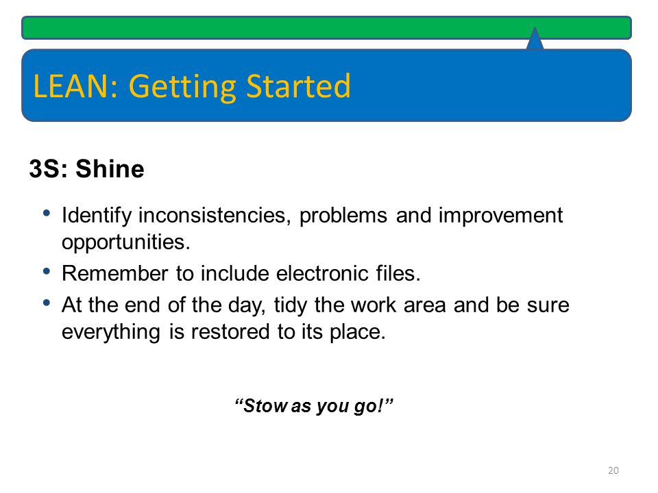 LEAN: Getting Started 3S: Shine
