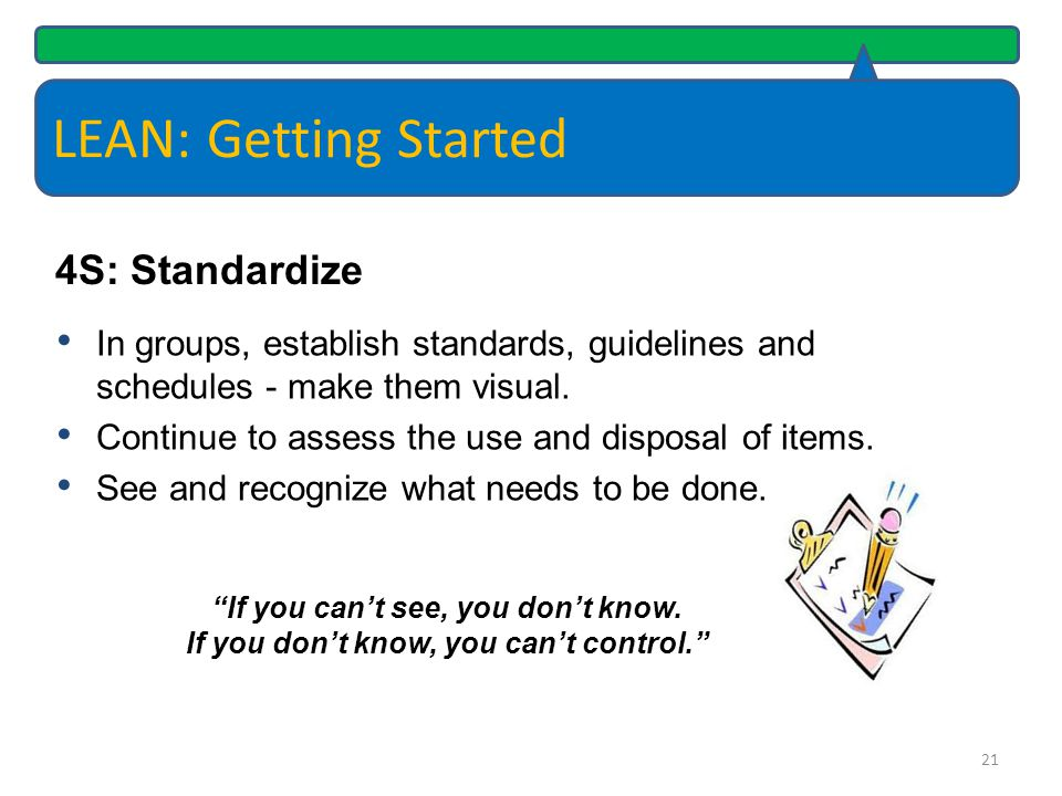 LEAN: Getting Started 4S: Standardize