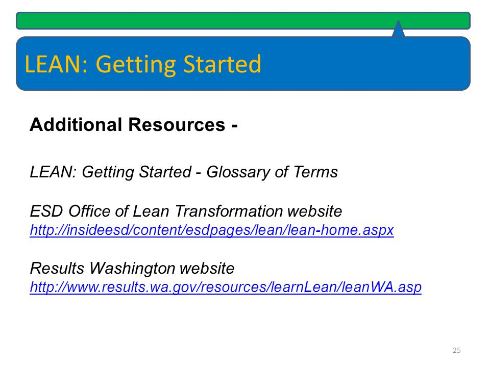 LEAN: Getting Started Additional Resources -