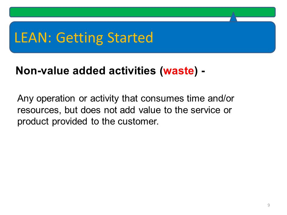 LEAN: Getting Started Non-value added activities (waste) -