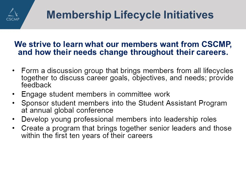 Membership Lifecycle Initiatives