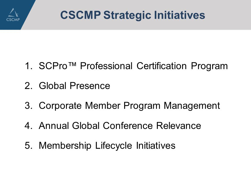 CSCMP Strategic Initiatives