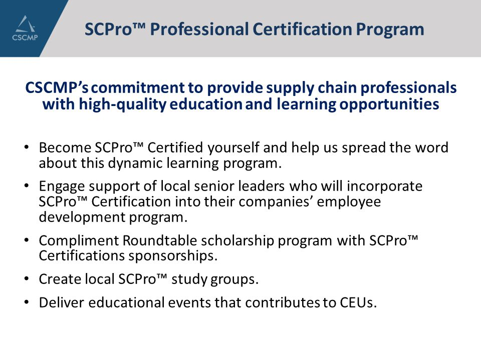 SCPro™ Professional Certification Program