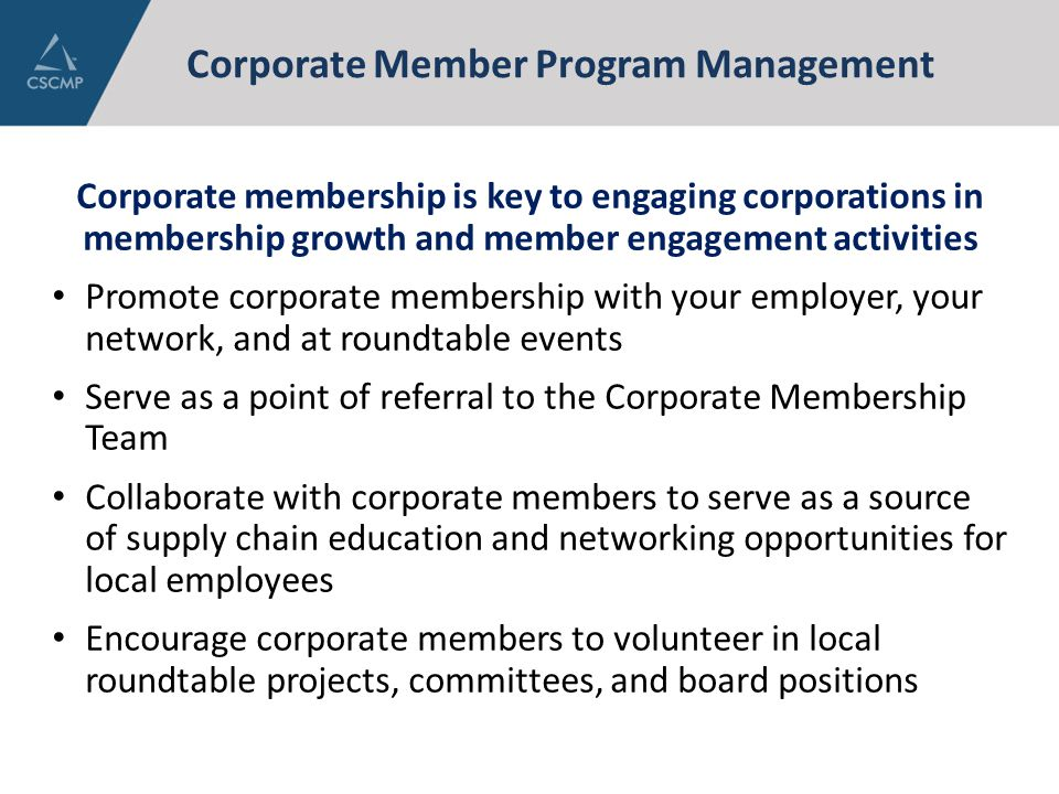 Corporate Member Program Management