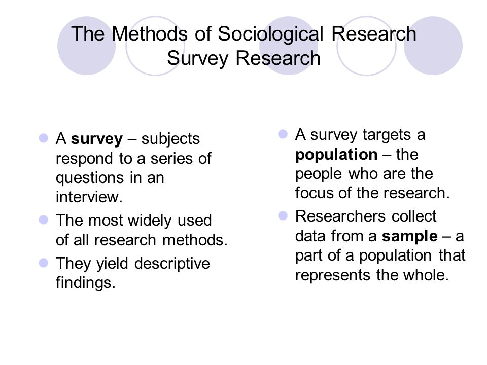 The Methods of Sociological Research Survey Research