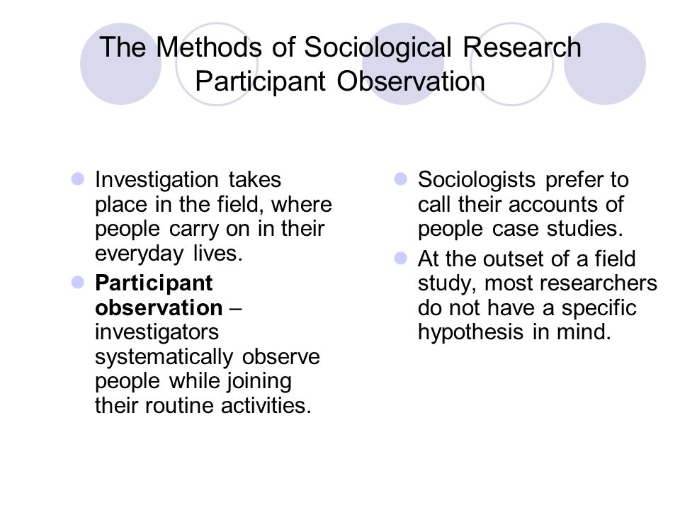 sociology and participant observation Participant observation definition, a technique of field research, used in anthropology and sociology, by which an investigator (participant observer) studies the life of a group by sharing in its activities see more.