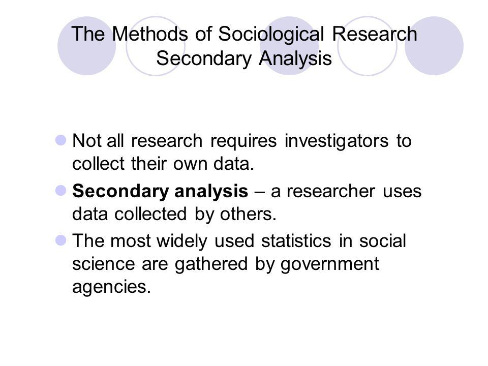 The Methods of Sociological Research Secondary Analysis