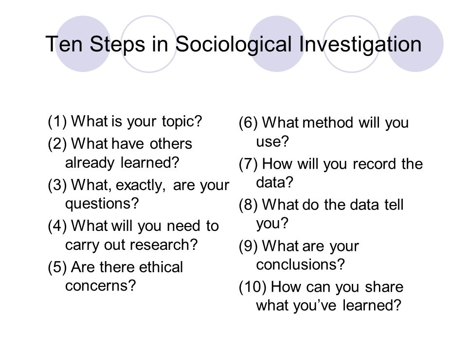 Ten Steps in Sociological Investigation