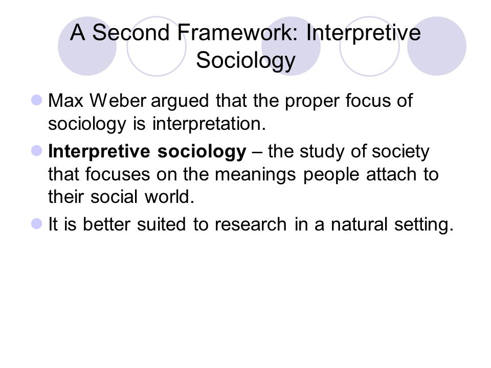 A Second Framework: Interpretive Sociology
