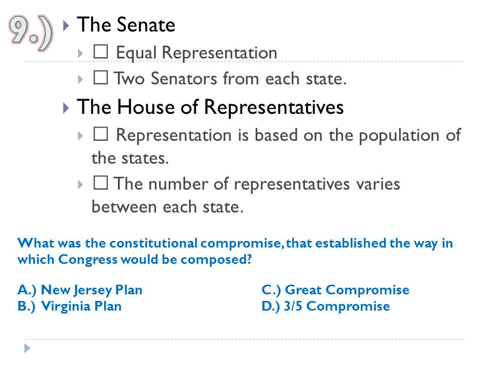 9.) The Senate The House of Representatives  Equal Representation
