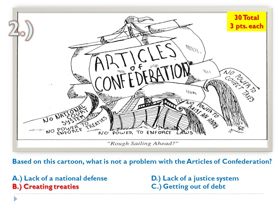 30 Total 3 pts. each. 2.) Based on this cartoon, what is not a problem with the Articles of Confederation