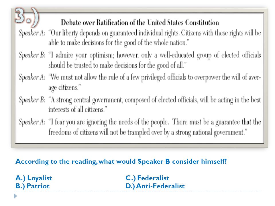 3.) According to the reading, what would Speaker B consider himself