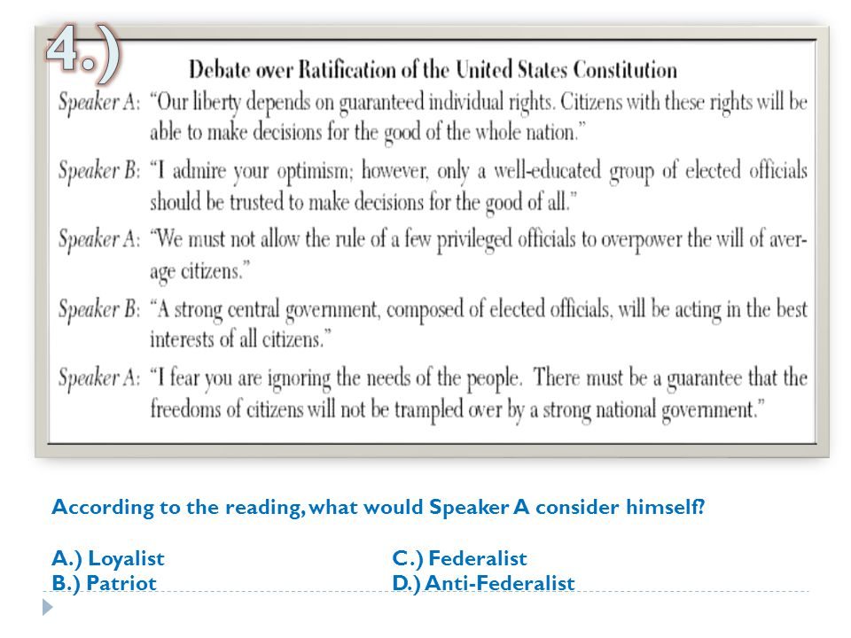 4.) According to the reading, what would Speaker A consider himself