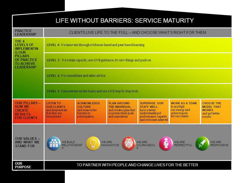LIFE WITHOUT BARRIERS: SERVICE MATURITY