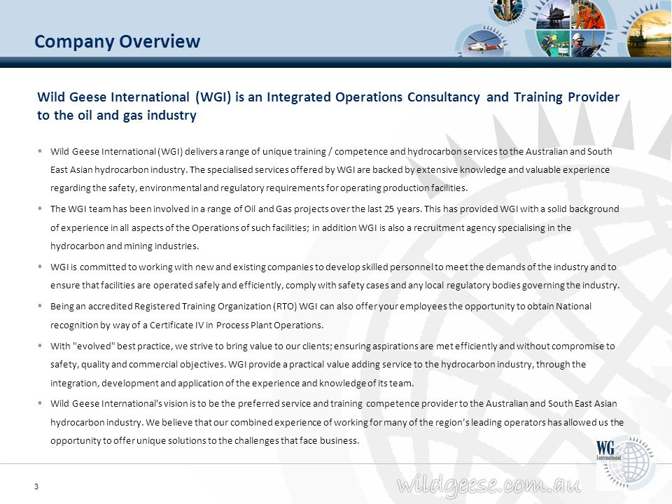 Company Overview Wild Geese International (WGI) is an Integrated Operations Consultancy and Training Provider to the oil and gas industry.