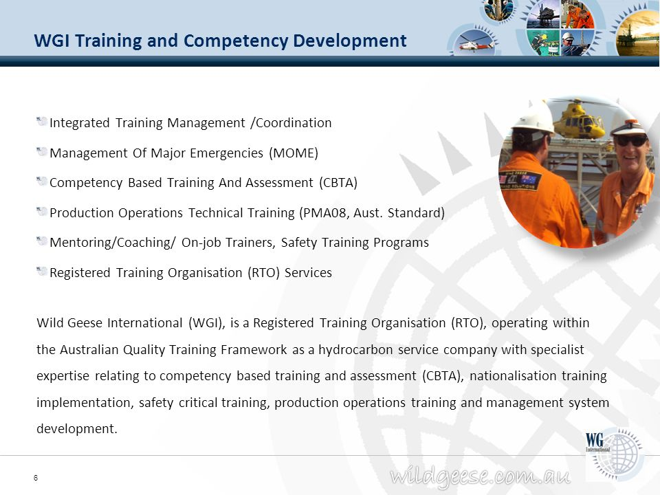 WGI Training and Competency Development