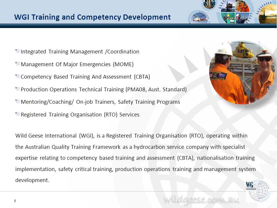 WGI Training and Competency Development