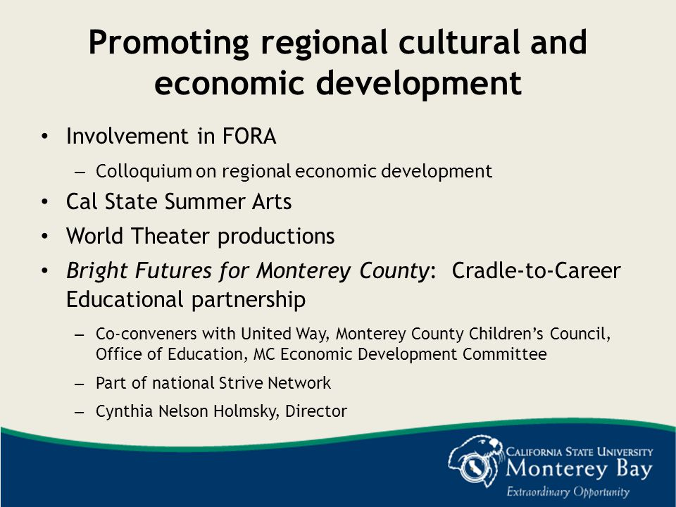 Promoting regional cultural and economic development