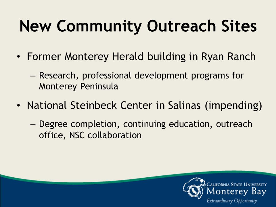 New Community Outreach Sites