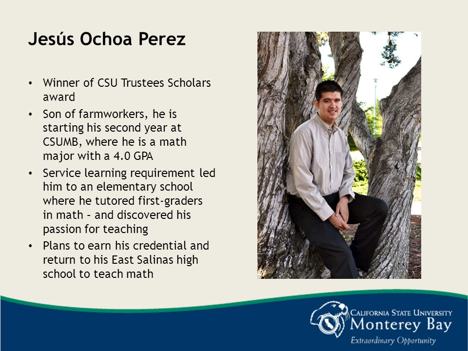 Jesús Ochoa Perez Winner of CSU Trustees Scholars award