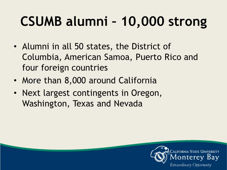 CSUMB alumni – 10,000 strong Alumni in all 50 states, the District of Columbia, American Samoa, Puerto Rico and four foreign countries.