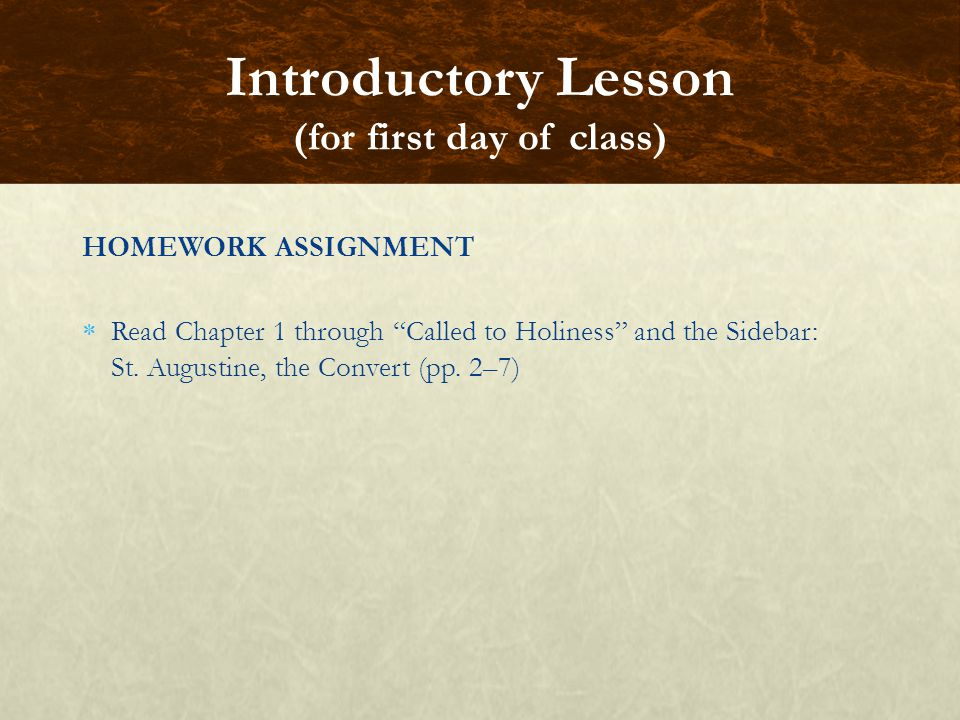 Introductory Lesson (for first day of class)