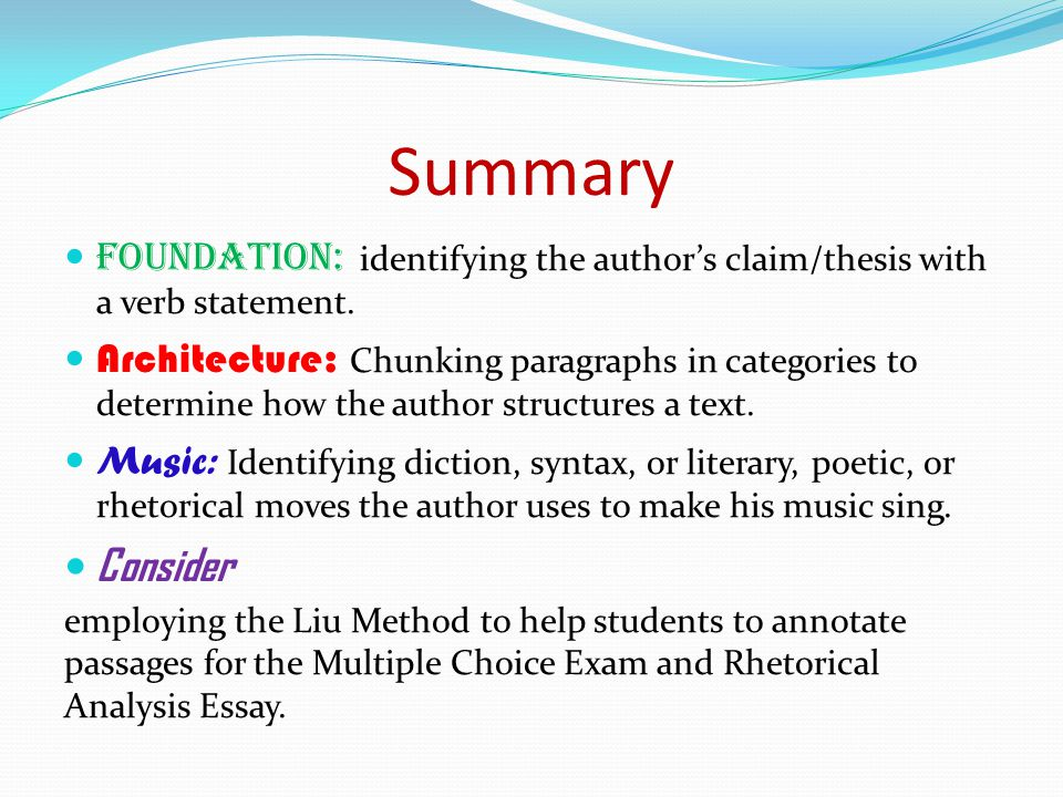 Summary Foundation: identifying the author's claim/thesis with a verb statement.
