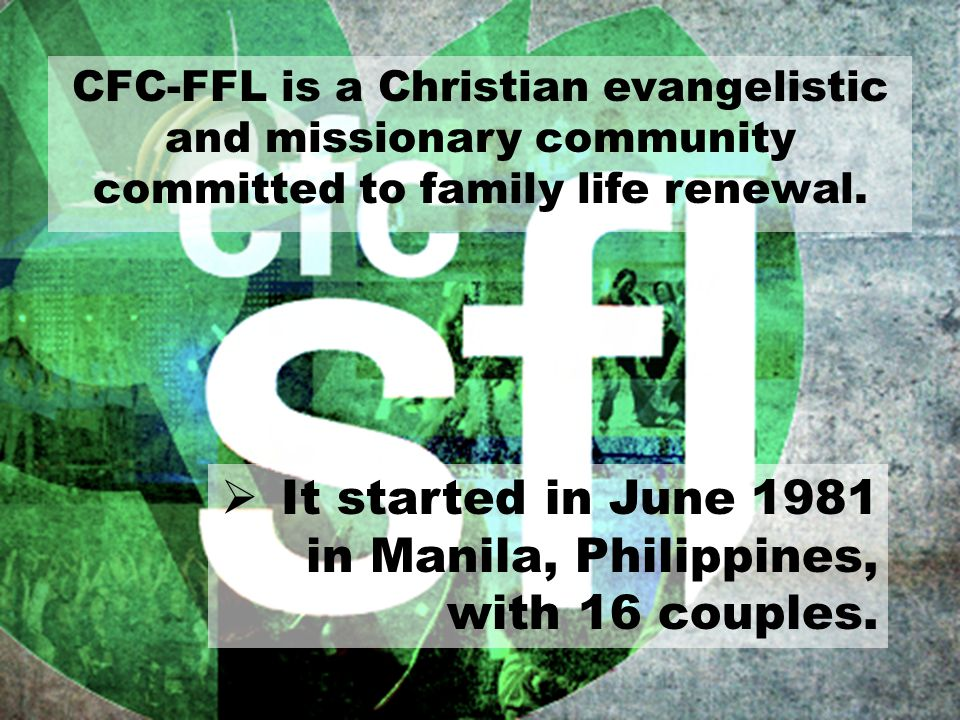 It started in June 1981 in Manila, Philippines, with 16 couples.